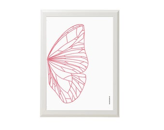 Butterfly Wing Poster / A4 / Abstract Butterfly Wall Art / Butterfly Decor / Illustration / Pink  / Poster / Insect Art / Home Decor