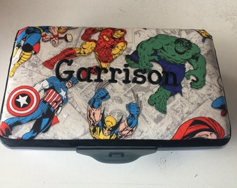 Personalized Kids School Pencil Box Case Marvel Comics Wolverine Spiderman Hulk Thor