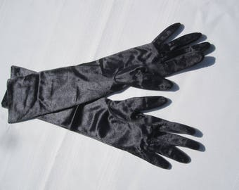 Long Black Shiny Opera Gloves