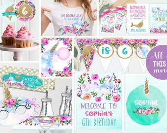 Narwhal Unicorn under the Sea Party Decor - Purple Floral Gold - Printable - Magical Narwhal Unicorn Girls Birthday Party - Instant Download
