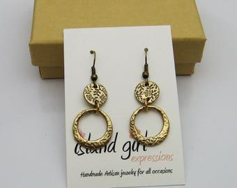 Bronze Dangle Earrings, Gold Dangle Earrings, Floral Earrings, Long Earrings, Casual Earrings, Elegant Earrings, Summer Earrings, Handmade