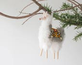 Stuffed Puffy Peruvian Llama Christmas Ornament with Fringed Blanket
