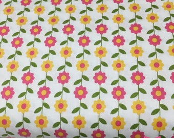 Summer Song Daisy Riley Blake by Zoe Pearn White cotton quilt fabric by 1/2 yard # C4623