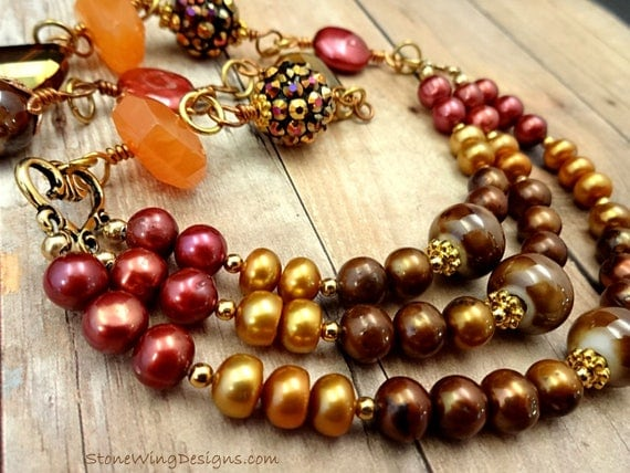 Multistrand Pearl and Gemstone Necklace in Brown, Red, Gold and Orange