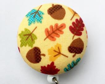 Fall Badge Reel - Fall Leaves - Autumn Badge Reel - Leaves And Acorns - ID Badge Holder - Retractable Badge - Nurse Gift - Fabric Badge Reel