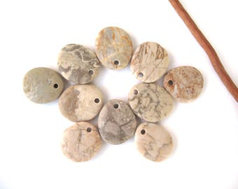 Stone Beads Pebble Beads Mediterranean Natural Beach Stone Beads Top Drilled Rock Pairs Diy Jewelry OATMEAL LOT 20-22 mm