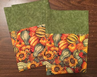 Autumn /Fall pillow case set avocado green cuff