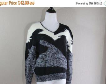 SALE Black, grey and fuzzy cream geometric Crosby sweater- unisex- fun- hipster