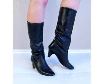 vintage 80s TALL black leather RIDING BOOTS heels 8 cuff slouchy pirate boho shoes