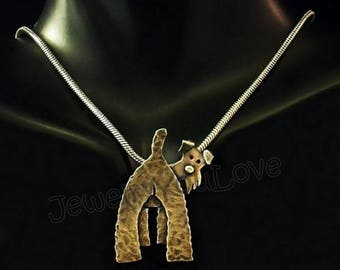 Sterling Silver Wire Fox Terrier Necklace - Wishbone