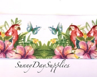 Belize Tropical Ribbon, White Satin, Wide, Wired, Paradise, Parrots, Hibiscus Flowers, Tropical Ribbon, Weddings, Wreaths and Bows, 2 YARDS