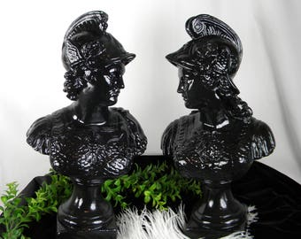 HOLIDAY SALE Set of 2 Gladiator Busts /Classic Roman Centurion Soldiers Male & Female Warriors / Neoclassical Art  / Black Gloss / Plaster