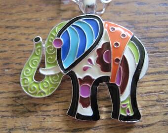 "RETRO Colorful Enamel Elephant Asian Pendant Silver Tone Long 28"" Square Link Necklace Signed RMN"