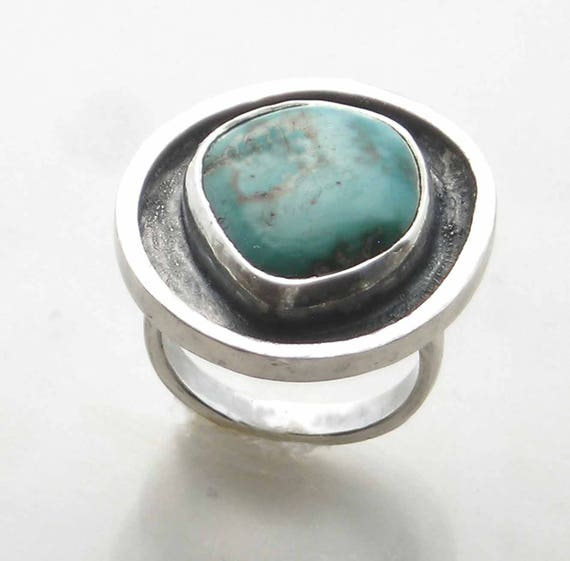 Pale Green Turquoise Ring, Sterling, Royston Mine, Aqua Green, Natural Round Stone, Boho Silver, Contemporary Bohemian, Modern Minimalist