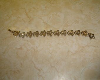 vintage bracelet goldtone flowers rhinestones