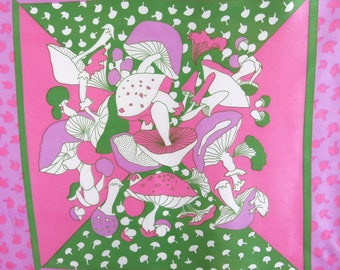 Retro Scarf Panel Rayon Unfinished Edges 70s Psychedelic Mushrooms Pink Green 30 by 40 Inches 7A
