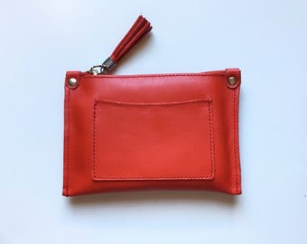 Small genuine leather RED bag, Leather purse, red wallet, Cosmetics bag, Make up bag,Purse in red soft leather.