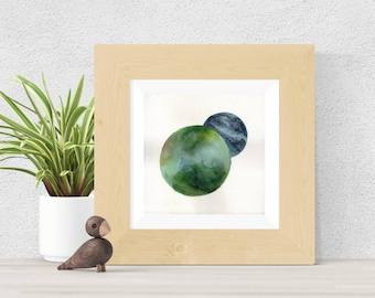 Original Watercolor Green and Blue Double Planet Clouds Painting Moon Star Galaxy Art OOAK Limited Edition
