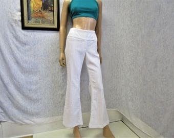 """90s 9 32"""" x 29"""" 725 Stretch Bell Bottoms Flares PANTS White"""