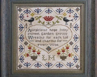 NEW Auspicious Hope counted cross stitch patterns by La D Da at thecottageneedle.com sampler