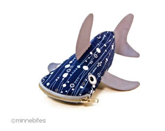Ready to Ship - Cute Shark Case - Gift for Scuba Diver - Shark Pencil Pouch - Organizer Bag - Office Gift - Desk Accessory - Blue Fish Purse