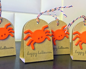 Halloween Treat Boxes Set of 4, Spider Boxes, Halloween Party Favors, Hershey Nugget Candy Package, Halloween Spider Party Favors