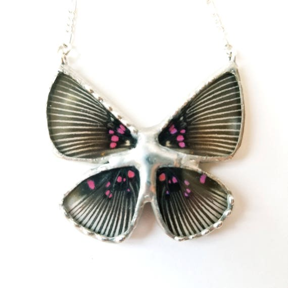 Butterfly Jewelry / Butterfly / Real Butterfly / Crystal Necklace / Butterfly Jewelry / Quartz