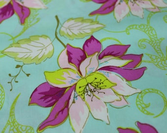 Mint Green, with Magenta, Light Pink Flower Motif Cotton Fabric by Art Gallery , Aprons, clutch purses, skirts, dresses, tablet covers