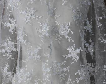 White Lace Tulle Fabric with floral pattern, and scalloped edges,  Dresses, Gowns, Bridal wear, Apparel, Accessories