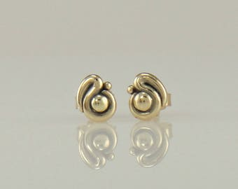 ER622- 14ky Gold Post Earrings- One of a Kind