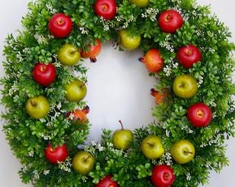Summer Wreath, Apple Wreath, Fruit Wreath, Fruit Door Wreath, Apple Door Wreath, Pomegranate Wreath, Door Wreath, Boxwood Wreath