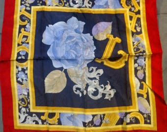 Vintage Leonard Handkerchief Silk Damask in Purple, Gold and Silver Made in Italy