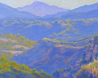 California Plein Air Landscape Oil Painting, June Evening in Topanga