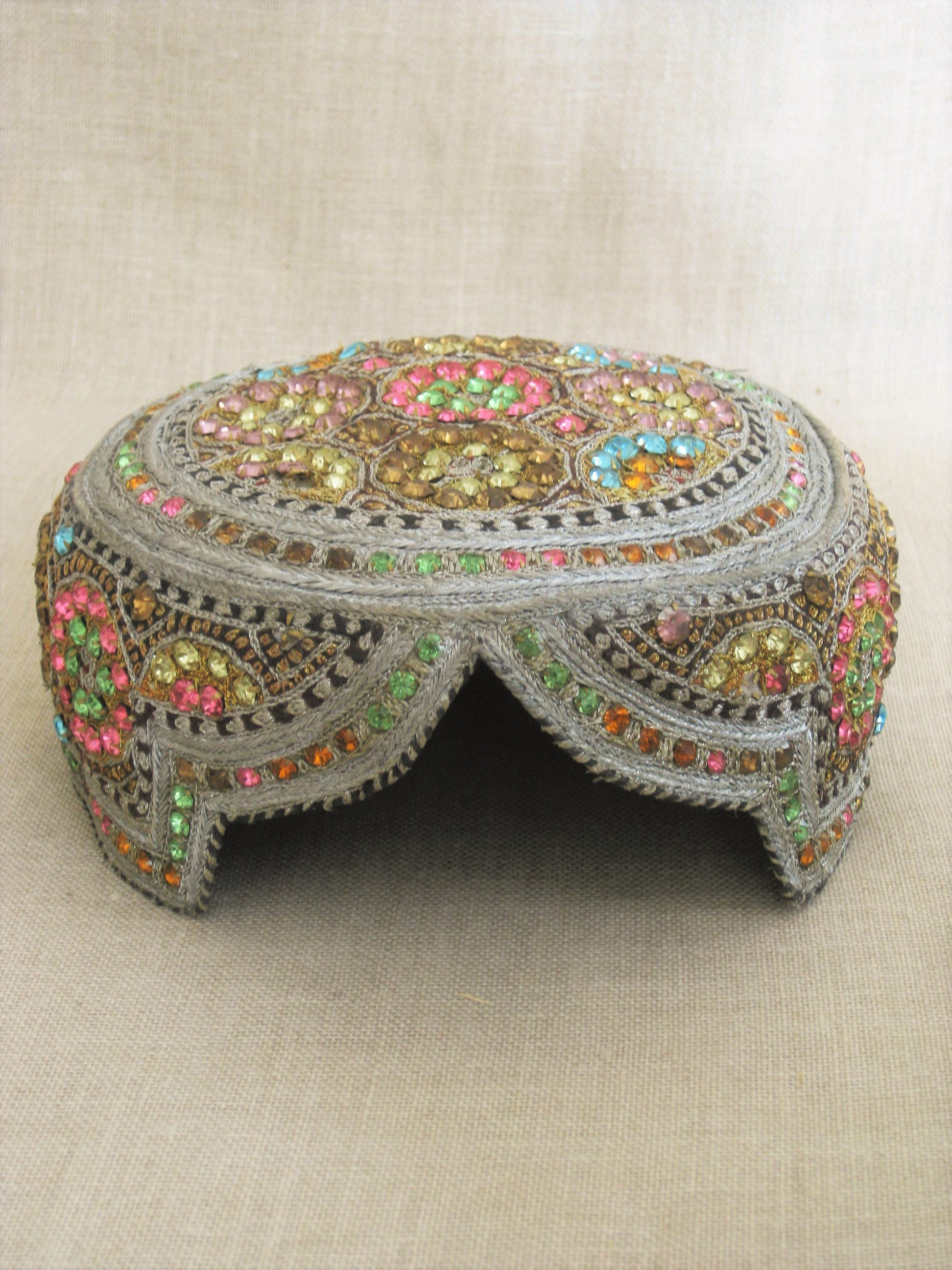 Vintage Jeweled Pakistani Skull Cap Bejeweled Pillbox