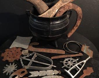 Antique Santeria Ogun Tools of Purpose Set with Old Witchcraft Cauldron