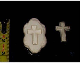 medium old rugged cross glass frit fusing duel purpose jewelry cab kiln mold