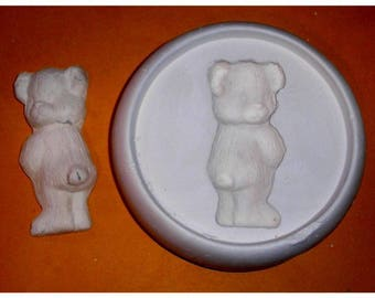New Cool TEDDY BEAR glass frit fusing duel purpose jewelry cab kiln mold