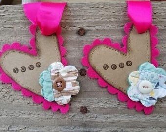 Felt Heart - Cutter Quilt Flower Love Tags - 5 Valentine's, Gift Tag, Vintage Tag, Love Tag, Heart, Quilt, Upcycled, Folk Art