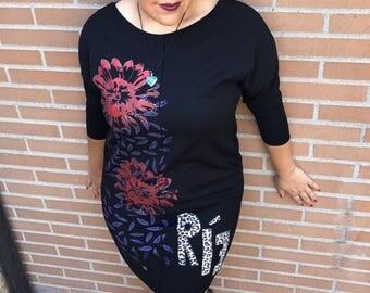 Handpainted unique RÍE dress, Black Dress, Curvy Women's Dresses