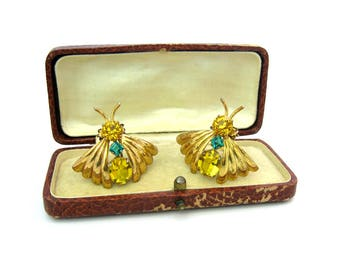 Butterfly Dress Clips. Gold, Sterling Silver Insect Bugs. Citrine Teal Topaz Rhinestone Body. Set of 2. Vintage 1940s Retro Art Deco Jewelry