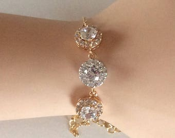 Gold and silver crystal bracelet in gold or silver finish perfect for wedding jewelry