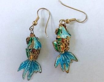 ON SALE Enamel Koi Fish Earrings