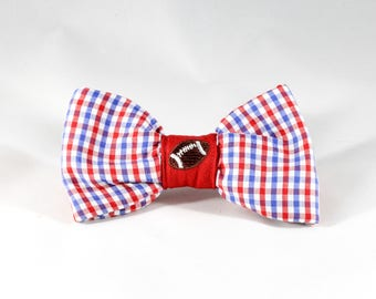 Preppy Red White and Blue Gingham Ole Miss Rebels Game Day Dog Bow Tie, Football