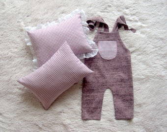 NEW-Newborn Posing Pillow and Romper-Photography Prop Outfits-Newborn Baby Posing Set-Baby Girl Romper and Pillow-Posing Pillow Rompers Set