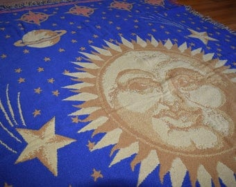 Vintage Blanket Sun Knit Cotton Throw Fringe 70s Boho Moon Celestial Hippie Gypsy Bohemian Home Decor Gift Gypsy Rare Handmade Woven Blue