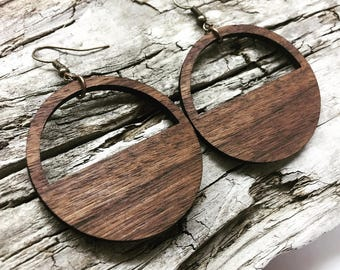 "1.75"" or Custom Size Lightweight Wood Hoop Earrings Custom Made to Order - Your Choice of Color Wooden Loop Earrings"