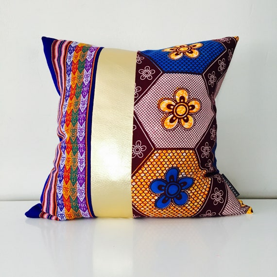 "SALE Boho Throw Pillow Cover 20""x20"" Square Cushion Blue African Fabric Floral Purple Colorful Embroidered Tribal Pillow Metallic Gold"