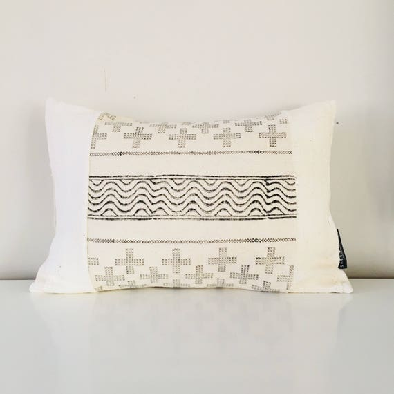 "Boho White Swiss Cross Pillow Cover 13'x18"" Lumbar Cushion Pillow Black and Creamy White Linen Swiss Cross Motif Bohemian Mud Cloth Pillow"