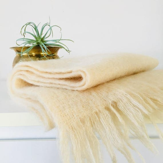Vintage Mohair Scarf Cream Off White Kinloch Anderson Scarf Made in Scotland Ivory Winter Scarf