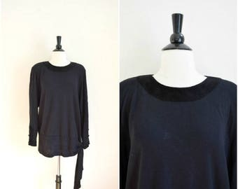 SALE Vintage long black tunic blouse with side tie bow / suede detailing button back top / retro long shirt